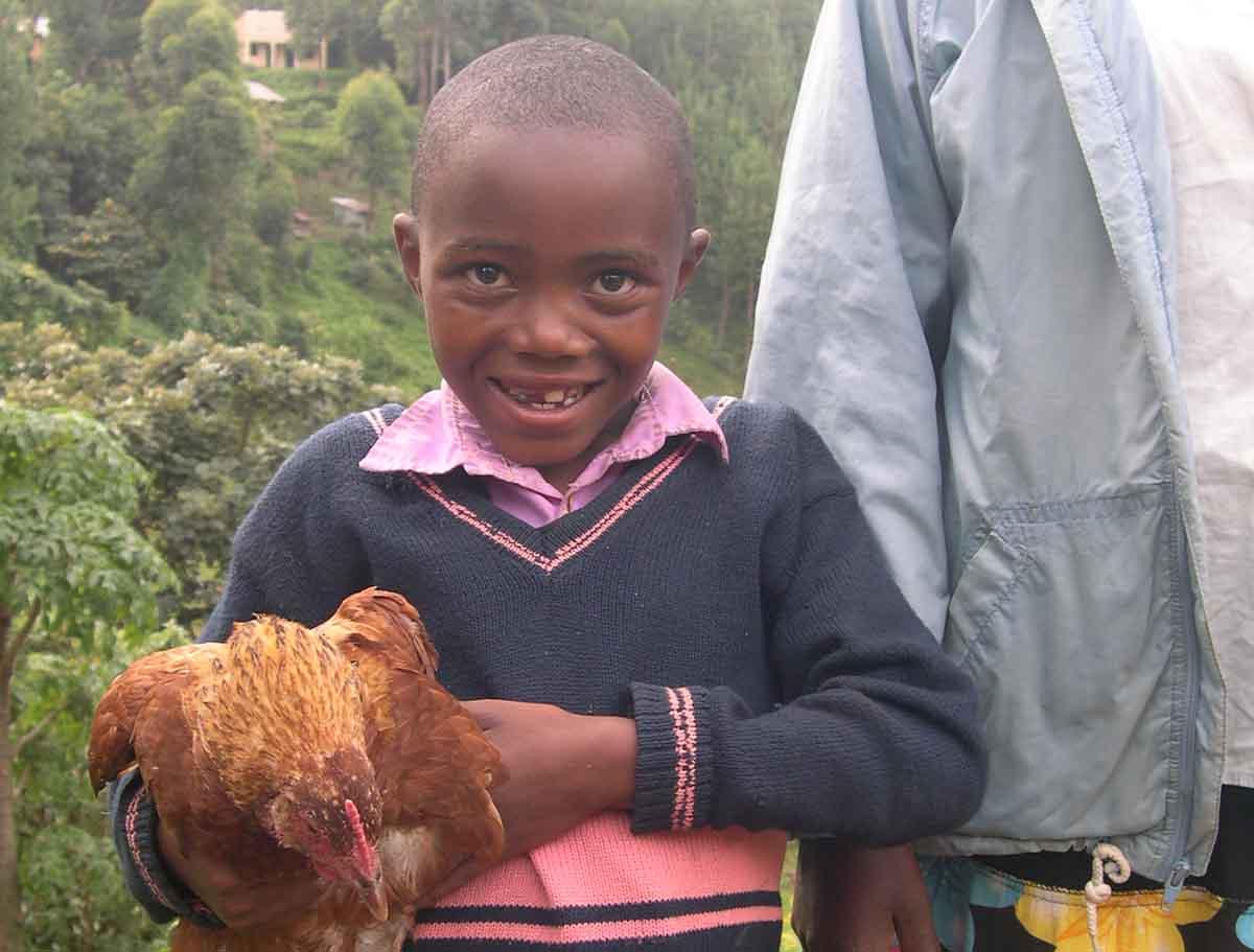 Maria holding her chicken