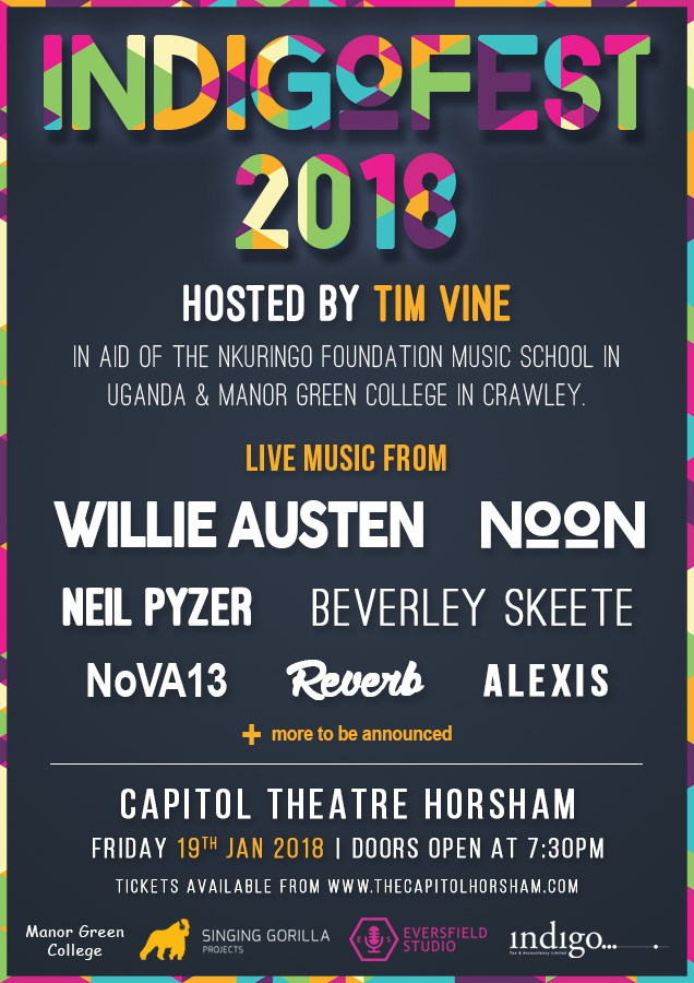 Indigofest 2018 live music hosted by Tim Vine